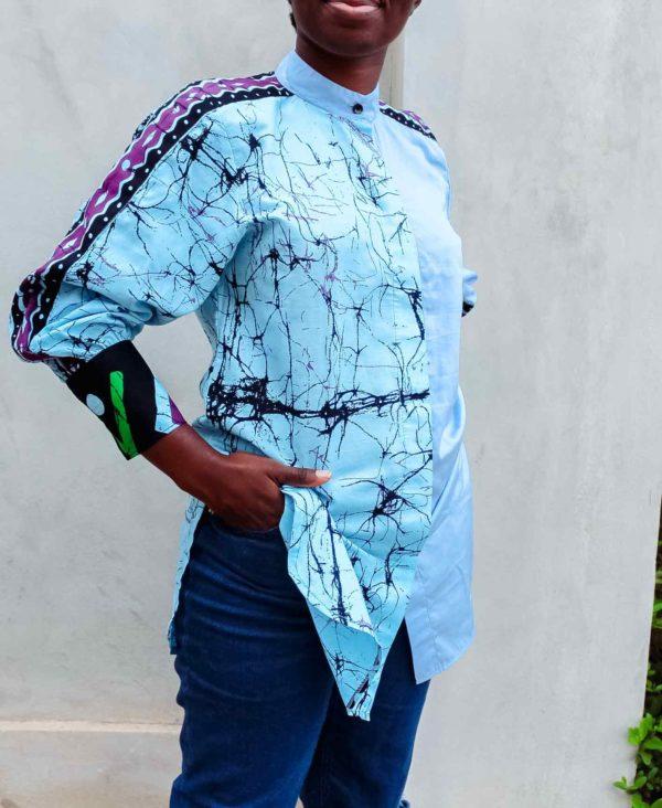 Chemise africaine imprimee bleue
