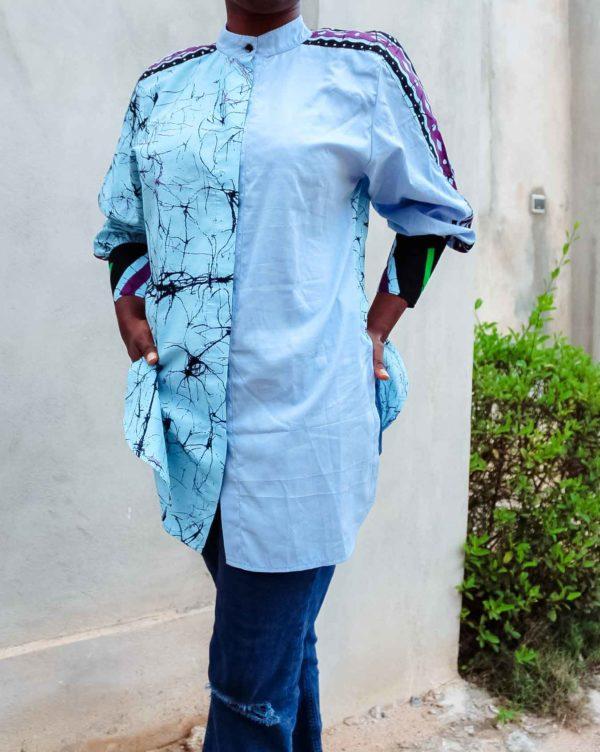 Chemise africaine bleue